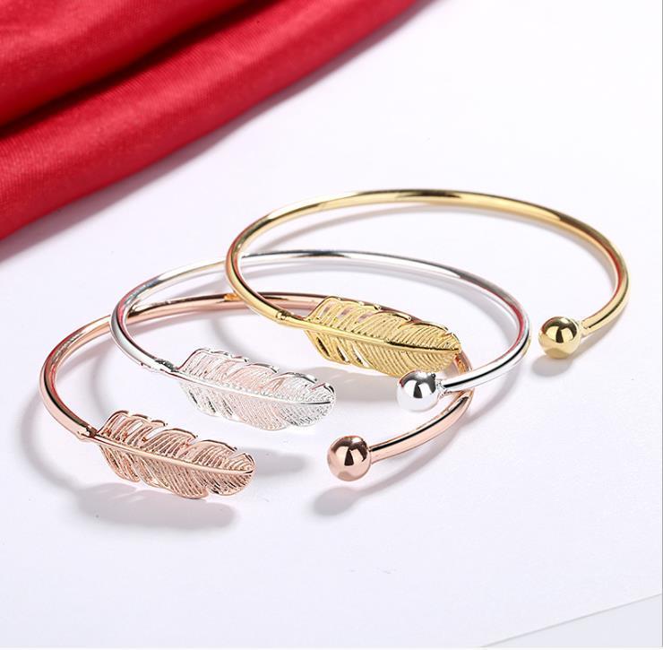 European and American fashion temperament small fresh feather open bracelet female literary angel wings bracelet jewelry