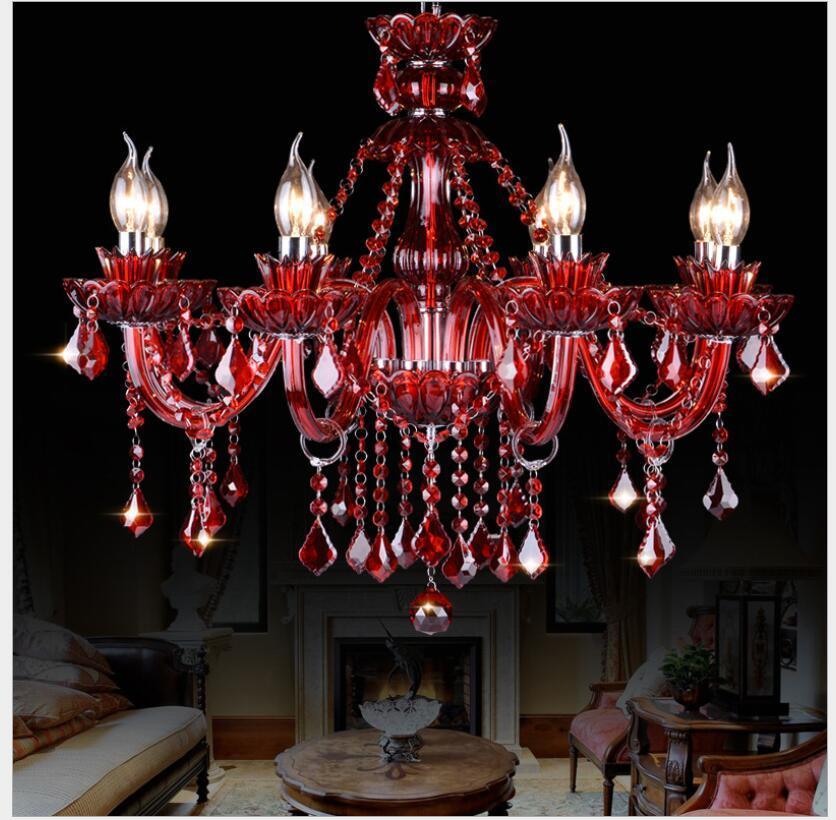 현대 붉은 색 데코 K9 크리스탈 샹 들리 광택 크리스탈 샹들리에 Lustres 드 크리스탈 샹들리에 LED AC 빌라 RED 램프 무료 배송