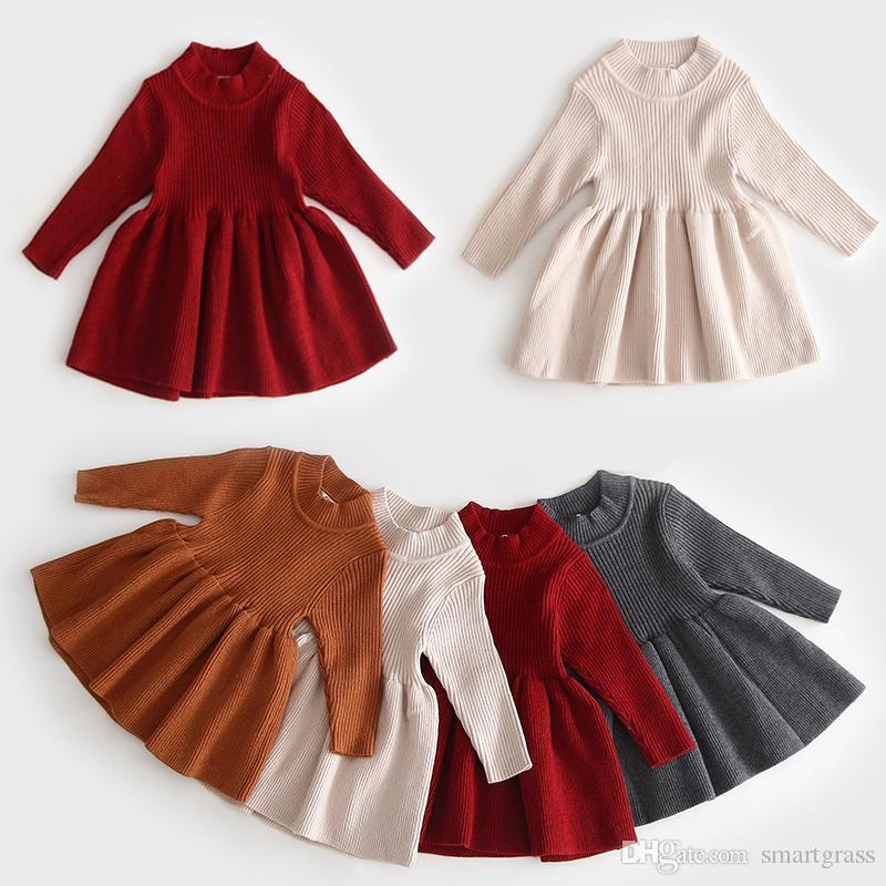 4 Farbe Kleinkind Langarm Strickkleid Cotton Baby-Kleider Solid Color 3 Saison Häkelarbeit-Baby-Kleider 19082501