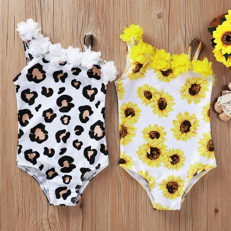 Bebés de baño de una pieza Verano 2020 nuevo traje de baño de las muchachas del volante estampado de flores de una pieza de baño traje de baño de la playa de los niños A55