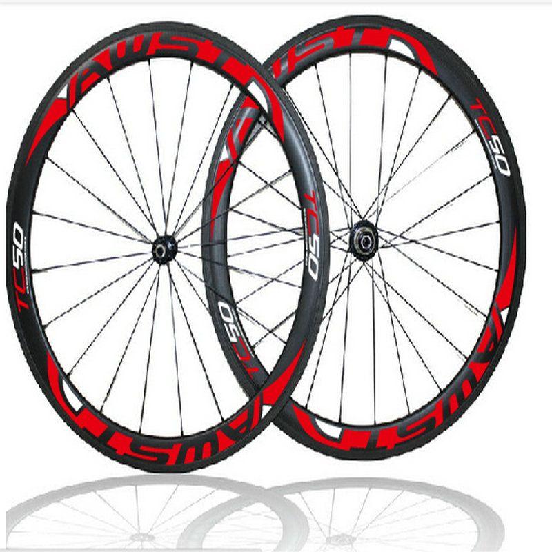 Top sale 50mm ffwd full carbon bike wheels glossy clincher 700C bicycle carbon wheels basalt surface bike wheels with ceramic bearing hubs