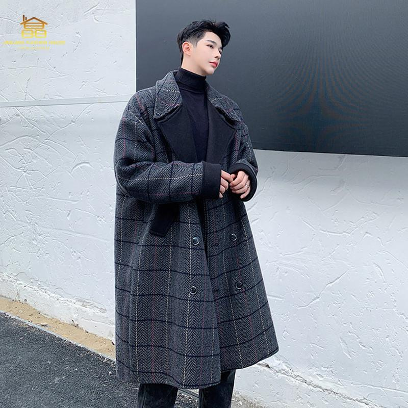 Hiver britannique imprimé style long manteau de laine à la mode version coréenne hommes couleur double boutonnage manteau de laine