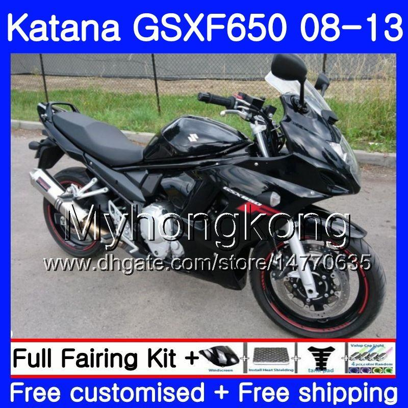 Body For SUZUKI KATANA GSXF 650 GSX 650F GSX650F 08 09 10 11 12 13 303HM.0 GSXF650 2008 2009 2010 2011 2012 2013 Fairings ALL Glossy black