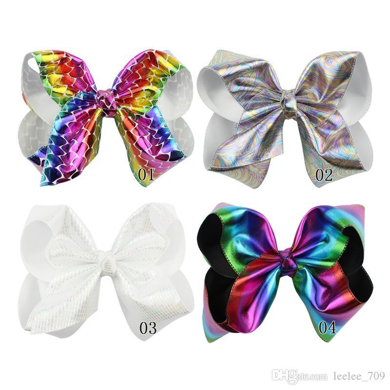 6PCS / LOT Nuove 8 pollici di grandi dimensioni clip degli archi dei capelli colorata gradiente Carnevale partito di festival arco dei capelli di Halloween Accessori per capelli per le ragazze Mermaid