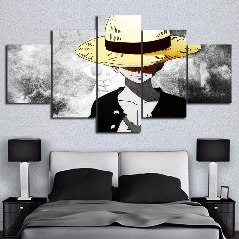 Toile HD Impressions Photos Mur Art 5 Pièces Une Pièce Singe D. Luffy Peintures Anime Affiche Salon Décor Modulaire Cadre