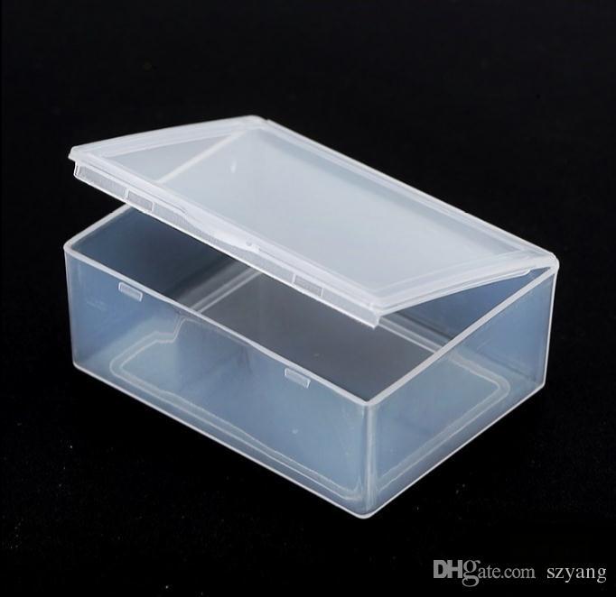Caixa de plástico pequeno retangular transparente 5.5 * 4.3 * 2.2 cm PP Armazenamento Coleções Caso Caixa de Contêineres Diversos caixa de plástico SN2324