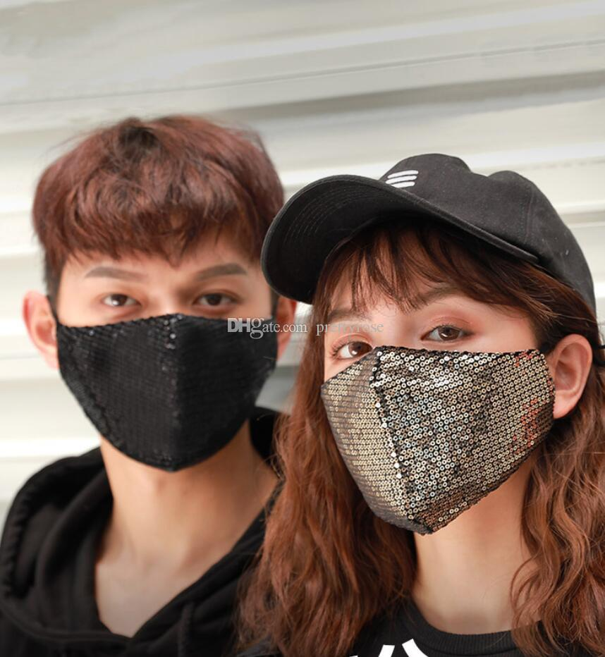 Máscara brillante de las lentejuelas lavable PM2.5 Cara Boca Máscara reutilizable Protección de algodón enmascarador Negro anti-polvo enmascarador anticontaminación de envío