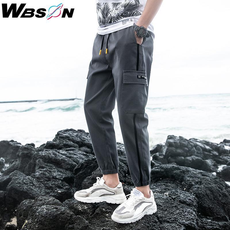 Wbson 2020 Nueva Corea Multi bolsillos cargo pantalones Joggers Street hombres de moda los pantalones de Hip Hop de los hombres Streetwear LWKS986