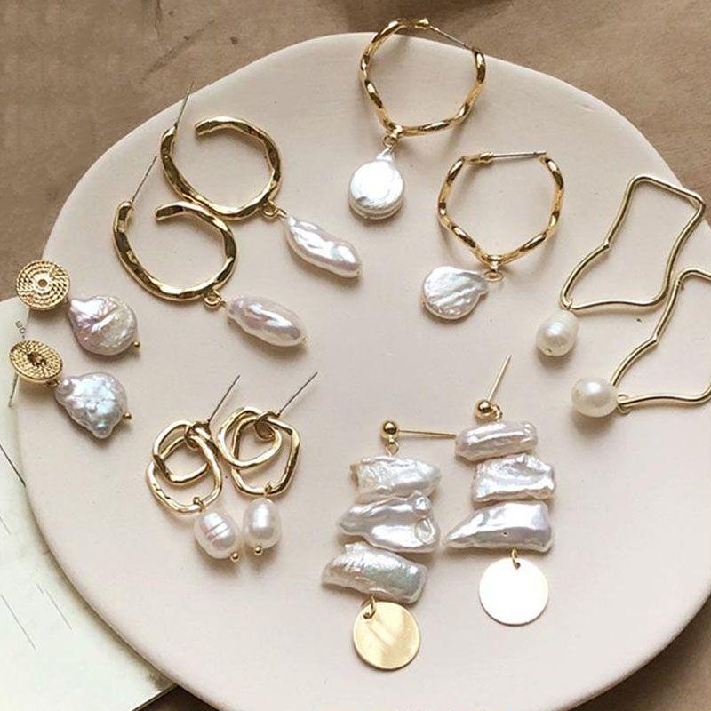 Серьги-гвоздики с натуральным пресноводным жемчугом Серьги в стиле барокко с жемчугом Плетеные серьги Кисточка-серьга для женщин Подарок ручной работы подарок