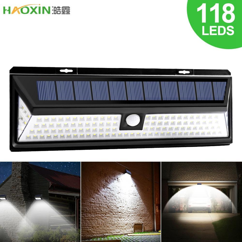 HaoXin LED Solar Light PIR Motion Sensor Outdoor 3 Modes Solar Wall Lamp IP65 Waterproof Energy Saving Security Garden Yard Lights