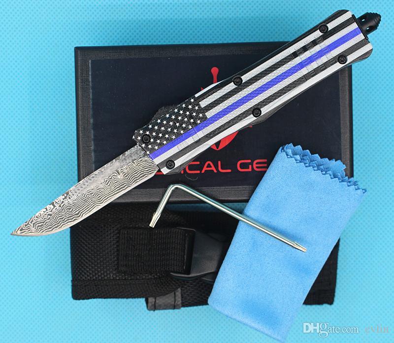 FedEx Spedizione gratuita Bandiera blu 7 pollici 616 Mini Auto Tactical Knife 440C Laser Pattern Finish Lama EDC coltelli tascabili