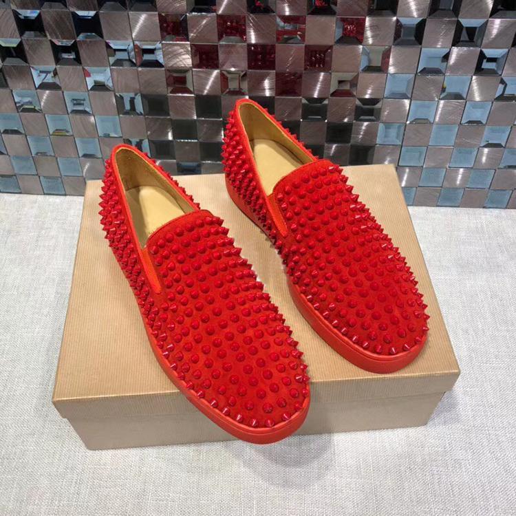 Designer scarpe da uomo fannulloni piani Red Casual piattaforma inferiore Spikes donne Sandalo Spikers blu del partito di nozze Formatori Scarpe nere lt