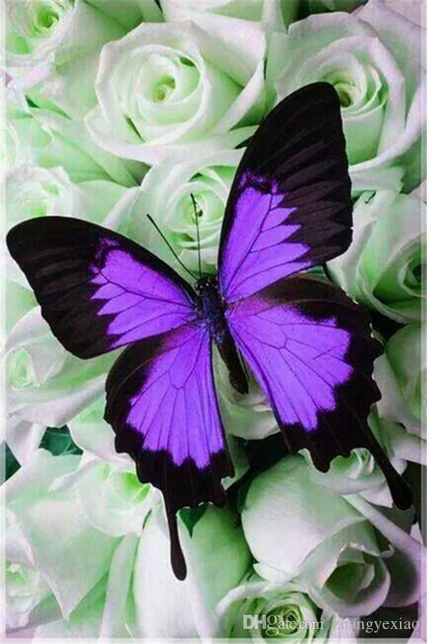 UK Full Drill Butterfly Flowers 5D Diamond Painting Cross Stitch Kit Nice