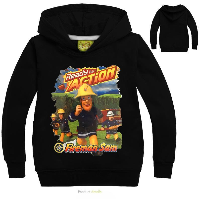 VENDITA CALDO 3-14Years I hoodies 2018 Fireman Sam vestiti delle ragazze con cappuccio primavera Giacca a maniche lunghe cartone animato causale Outwear