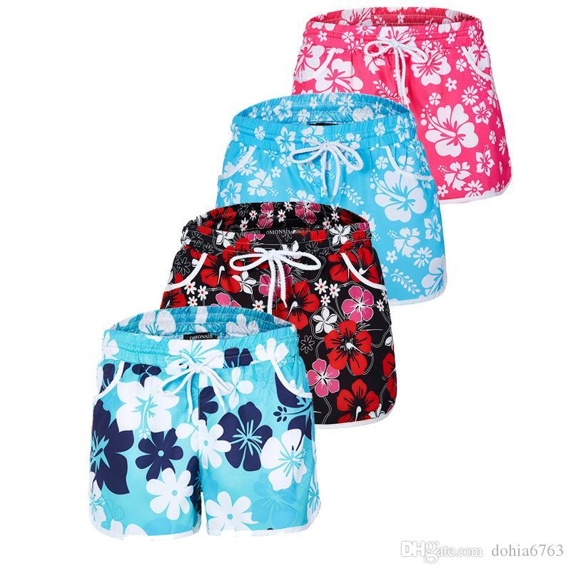 Çiçek Baskı Sıcak Pantolon / Avrupa ve Amerikan Plaj pantolon şort pantolon baskı çiçek kırmızı siyah bule renk
