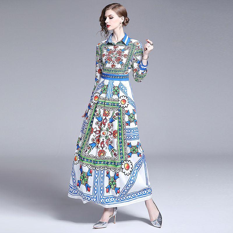 High Quality Fashion Designer Runway Shirt Dress 2019 Women Elegant Slim Long Sleeve Floral Print Casual Party Maxi Dresses Vestidos Dd72499 Sun Dresses Holiday Dresses From Luckyxu666 29 75 Dhgate Com