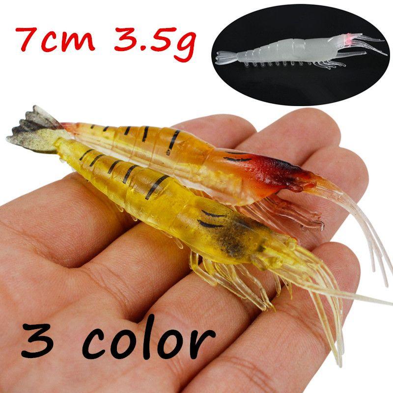 20pcs/lot 3 Colors 7cm 3.5g Simulation Shrimp PVC Fishing Lure Soft Baits & Lures BL_4