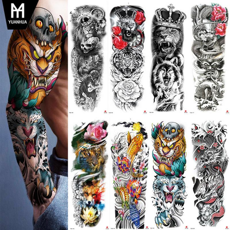 Sexy wasserdichte temporäre Tattoo Aufkleber Full Armhülse Große Schädel Tatoo Aufkleber Aufkleber Körperkunst Gefälschte Tätowierungen für Männer Frauen