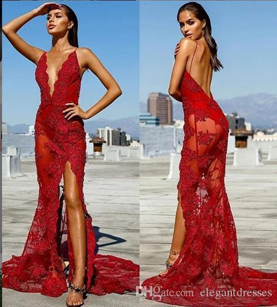 2019 Sexy Spaghetti Strips Mermaid Lace Appliques Slim Prom Dresses Backless Split Front Custom Special Occasion Party Gowns Night Club