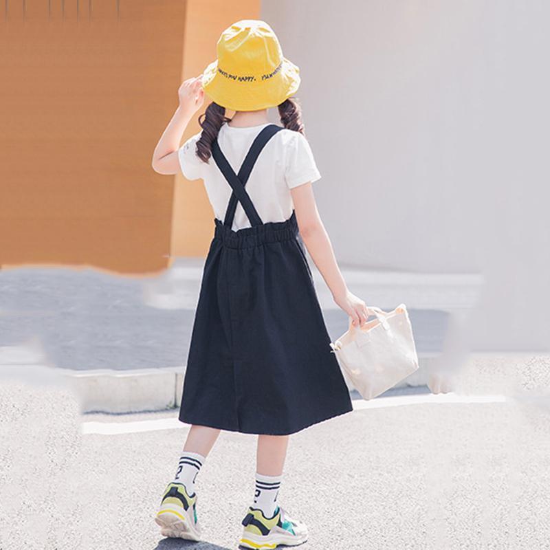 Kızlar Yaz Casual İki Parçalı Set 2020 Yeni Genç Kız Pamuk Gömlek ve Askı Elbise Seti Moda Çocuk Giyim Seti,