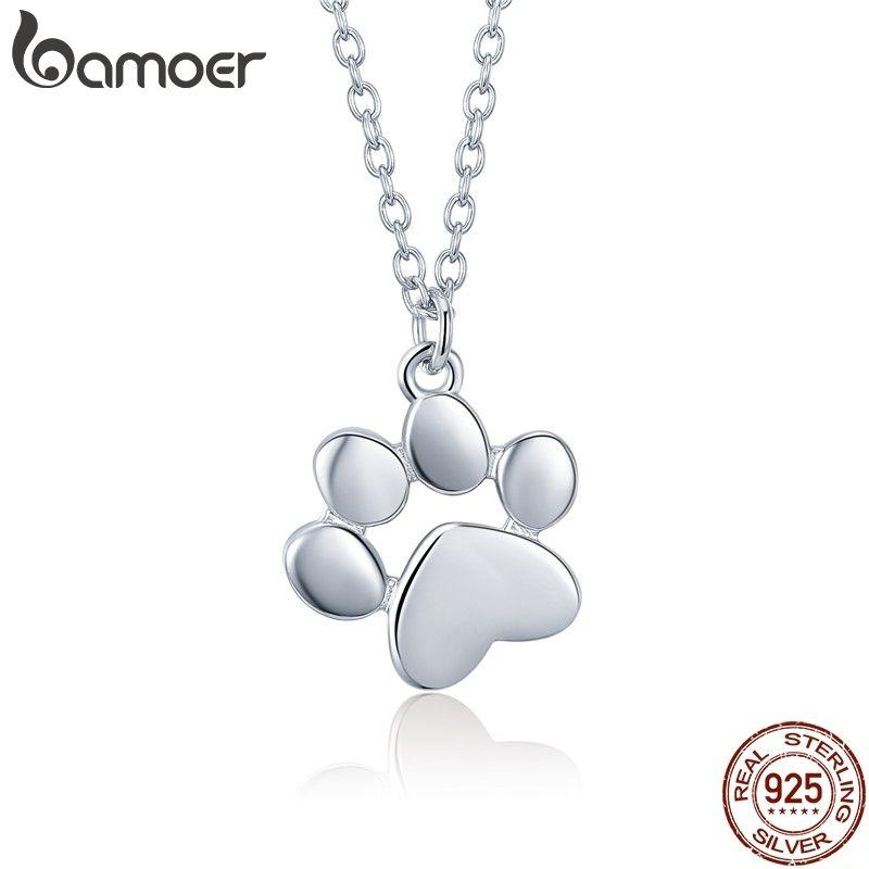 Bamoer Genuine 925 Sterling Silver Cute Animal Footprints Dog Cat Footprints Paw Necklaces Pendants Women Silver Jewelry Scn275 T190702