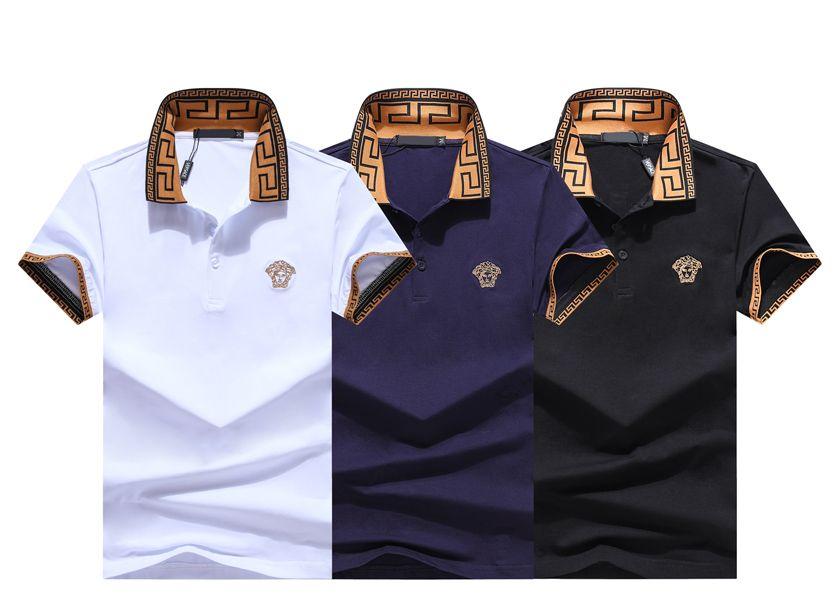 2020 горячая Medusa T-Шир дизайнер рубашки поло футболки Luxury цветочной вышивкой мужские Polos High уличной моды нашивки бренд мужские футболки