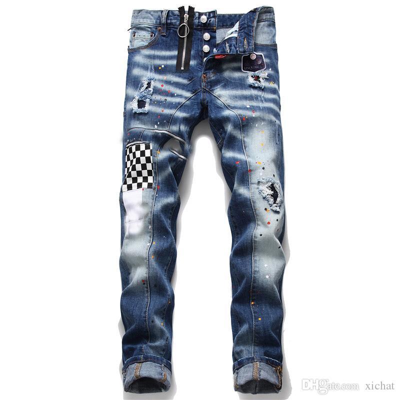 فريدة من نوعها الرجال المتعثرة شارة الأزرق نحيل الجينز مصمم أزياء صالح سليم غسلها موتوكيكلي سروال جينز نصب منصة الهيب هوب السائق بنطلون 1052