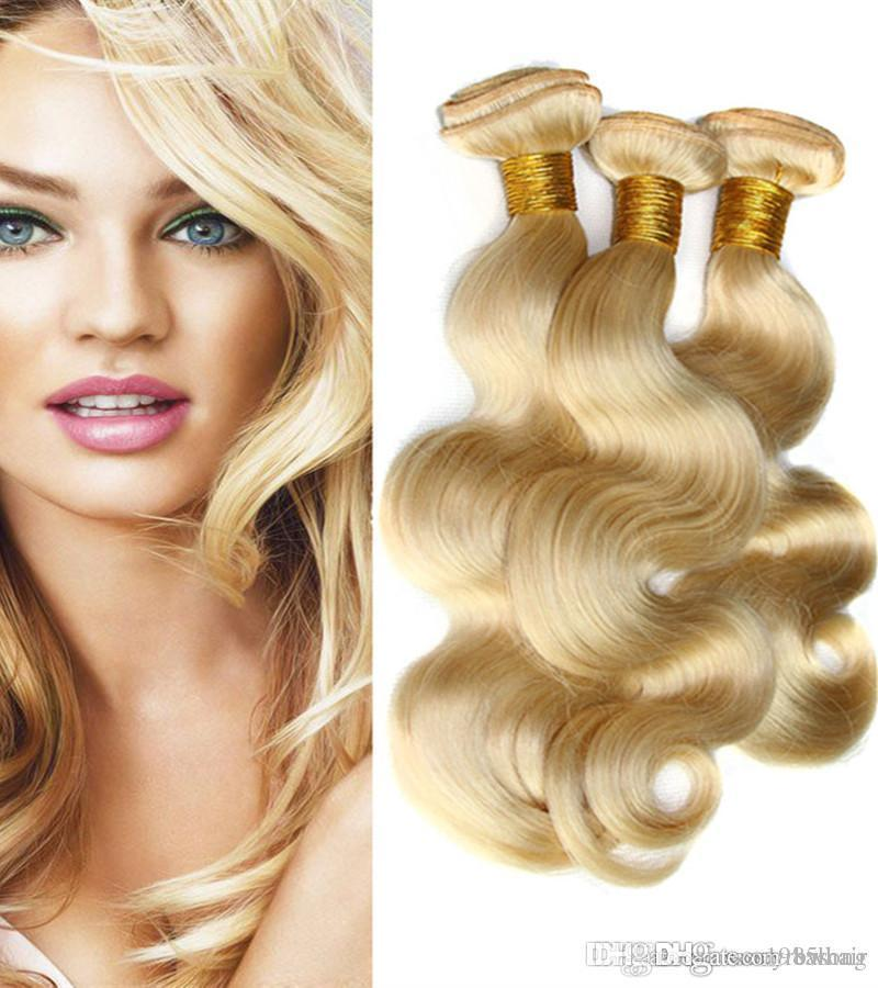 Prêt à l'expédition brésilienne 100% cheveux humains Weave Bundles 613 # Blonde Vierge du corps humain Extensions cheveux Vague 3Pcs Lot dropshipping