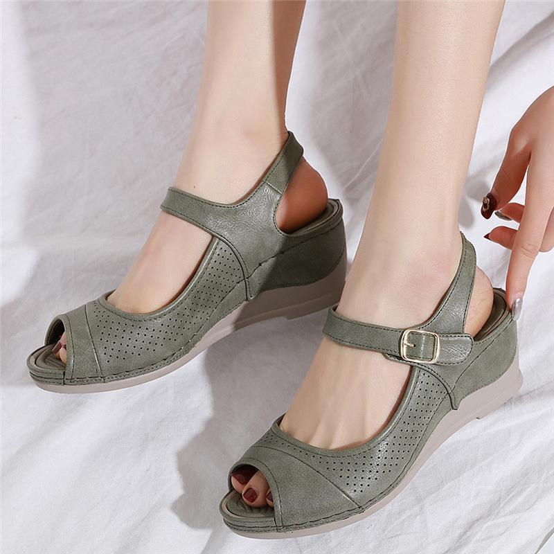2020 женская женская Богемная Toepost платформа клинья Повседневная обувь пряжка сандалии лаконичные Модные женские сандалии сексуальная женская обувь