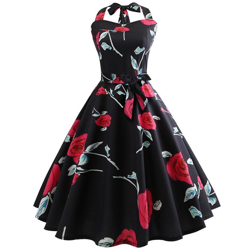Women Retro Vintage Dress Printed Swing Pin Up Party Dresses Elegant Tunic Vestidos Casual Sleeveless A Line Dress