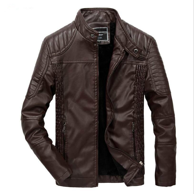 Men Winter Warm Leather Jackets Wool Liner PU Leather Down Jackets New Men Moto&Biker Outwear Casual Thicker Warm Leather