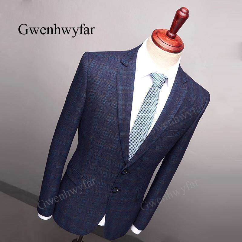 Amazing 2019 Gwenhwyfar Winter Alien Dark Blue Plaid Jacket Suit Jacket Men Blazer Pop Slim Male Suits Casual Blazers Men Size XXS-XL