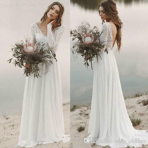 País playa vestidos de novia secundarios 2020 A-line vestido drapeado de gasa de novia de encaje Top con cuello en V con las mangas largas blusa sin espalda Ilusión