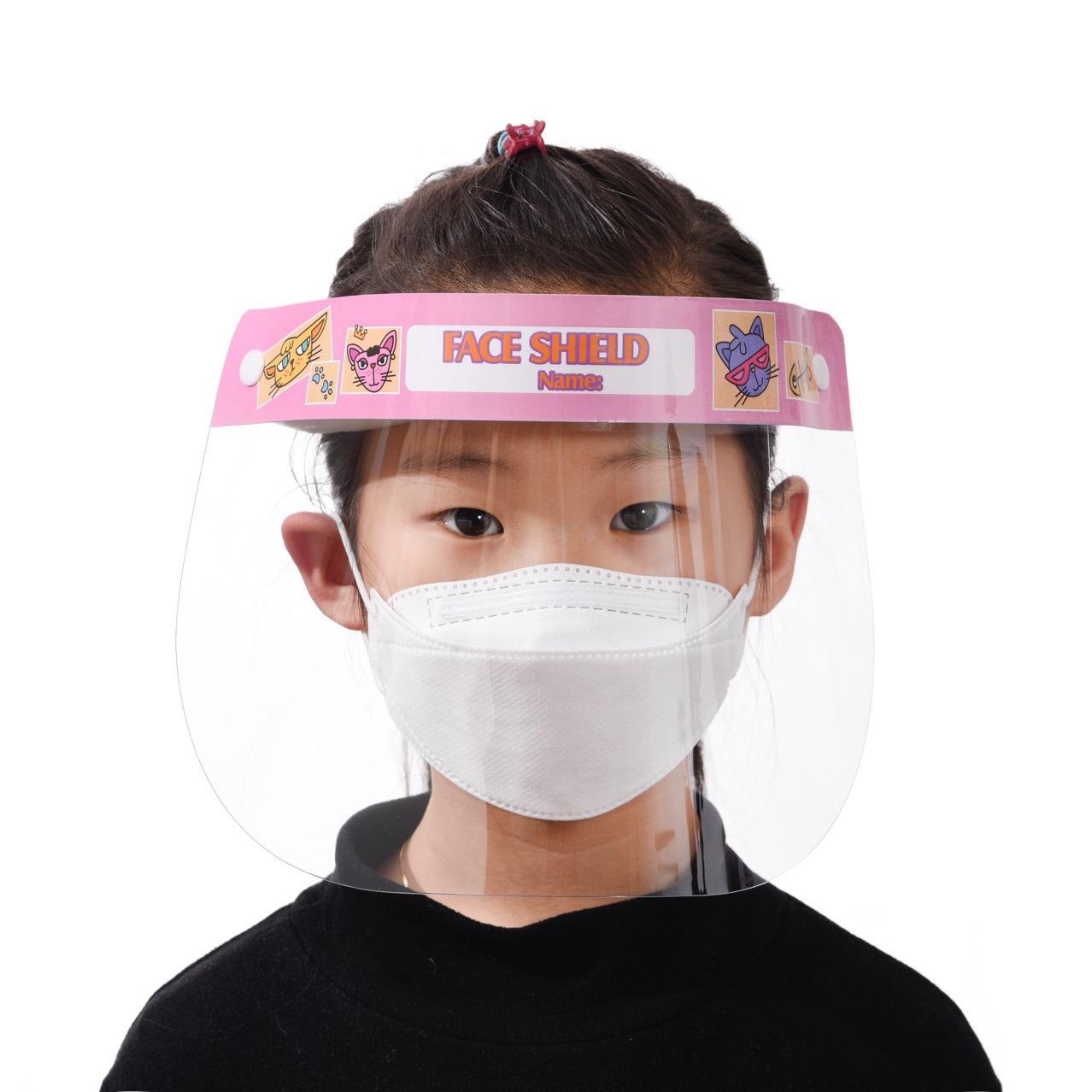 Мультфильм дети детская безопасность Faceshield прозрачный анфас крышка шляпа защитная пленка инструмент анти-туман HD ПЭТ материал лицевой щиток