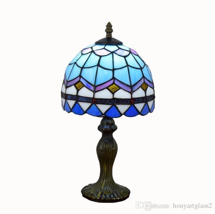 مصابيح الجدول الزجاج الملون تيفاني ضوء ضوء الحد الأدنى غرفة المعيشة السرير مصباح تيفاني الإضاءة الأزرق الشبكة