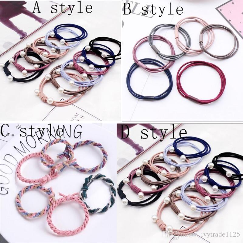 Hair Accessories Cord Gum Hair Tie Girls Elastic Hair Band Ring Rope Candy Color Circle Stretchy Scrunchy Mixed color