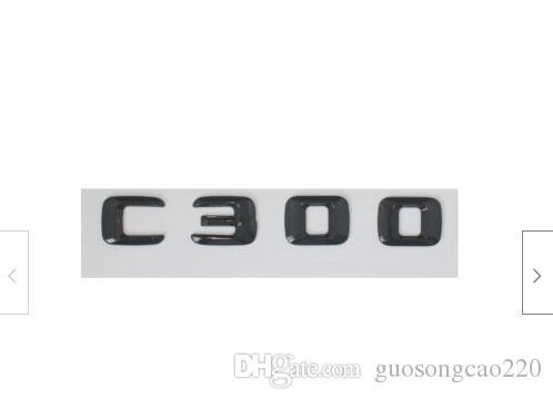 الأسود اللامع 3D عدد رسائل خلفي الجذع الشارات شعارات لمرسيدس بنز C300