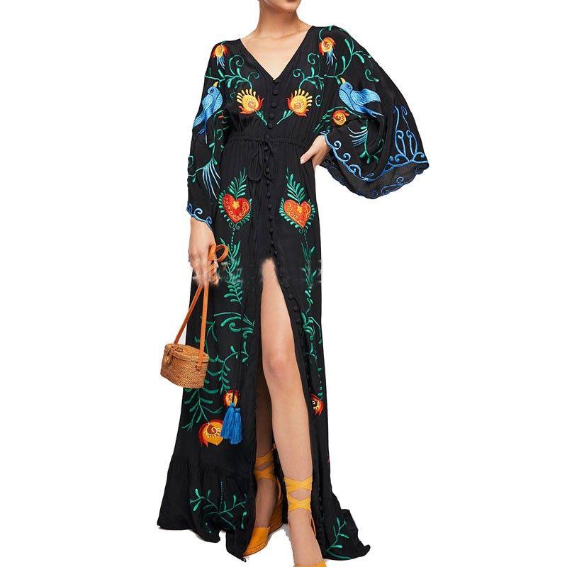 Вышитые Женщины Maxi платье V-образным вырезом Batwing рукава Сыпучие Плюс размер платья лета Drawstring талии Boho пляж Vestidos