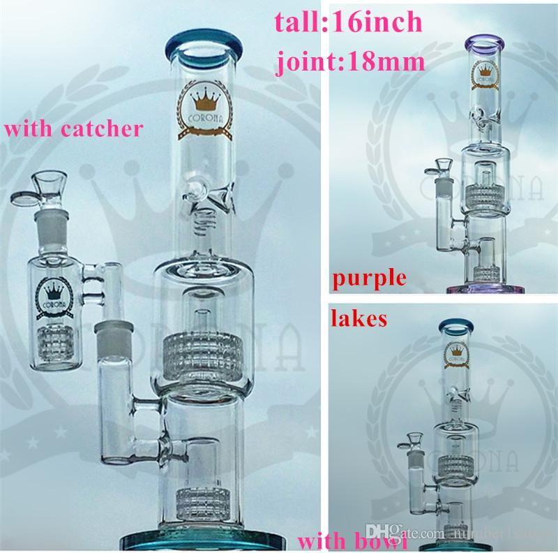 Recycler corona S2 matriz perc panal de ducha Bong púrpura con ceniza colector bangers clavos para vidrio de color rosa Bong tubería de agua