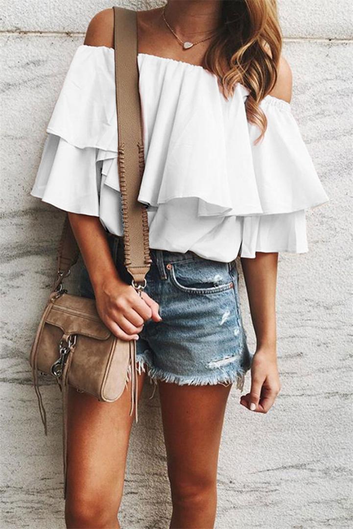 T-Shirts Frühlings-Mode-Boot-Ausschnitt Lose Tees Lässige Solid Color Tops Damenmode Damen Designer-Rüsche