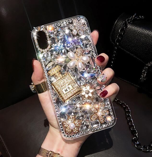 Lüks Bling Elmas Parfüm Şişesi DIY Çanta Kılıf için Samsung Galaxy S11 S10 S10E S10 5G S9 Artı S8 NOT 8 9 10 PRO S20 Ultra Cilt Kapak