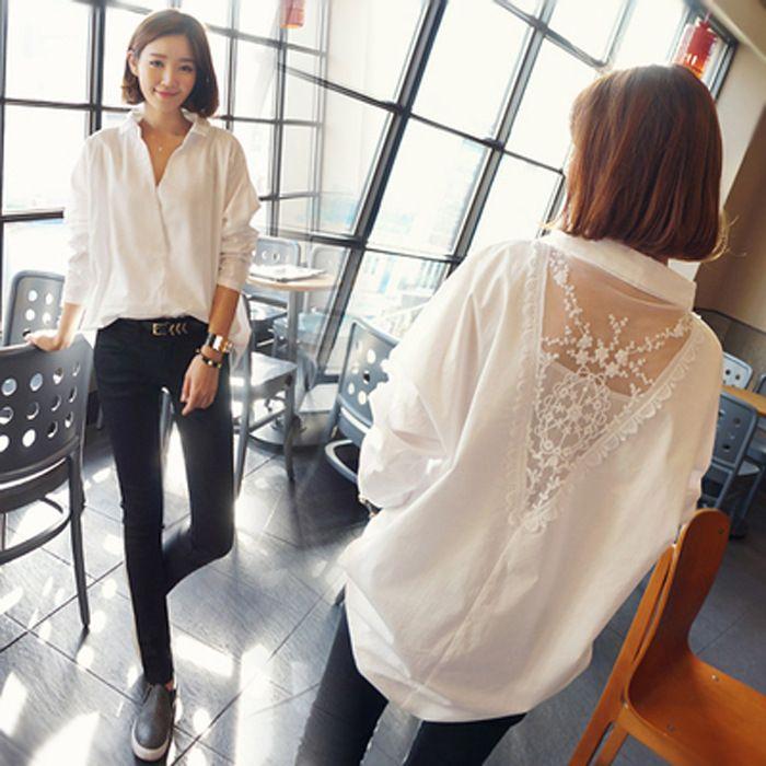 Whi hembra de la camisa de manga larga de Corea-estilo de ropa de primavera nuevo estilo de mitad de longitud de gran tamaño del vestido versátil holgado de Corea del estilo