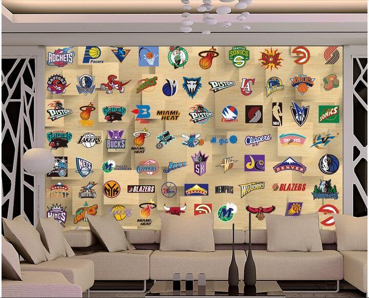 3d papel de parede personalizado foto mural Grande mural americano basquete estrela equipe logotipo home decor 3d murais de parede papel de parede para paredes 3 d sala de estar