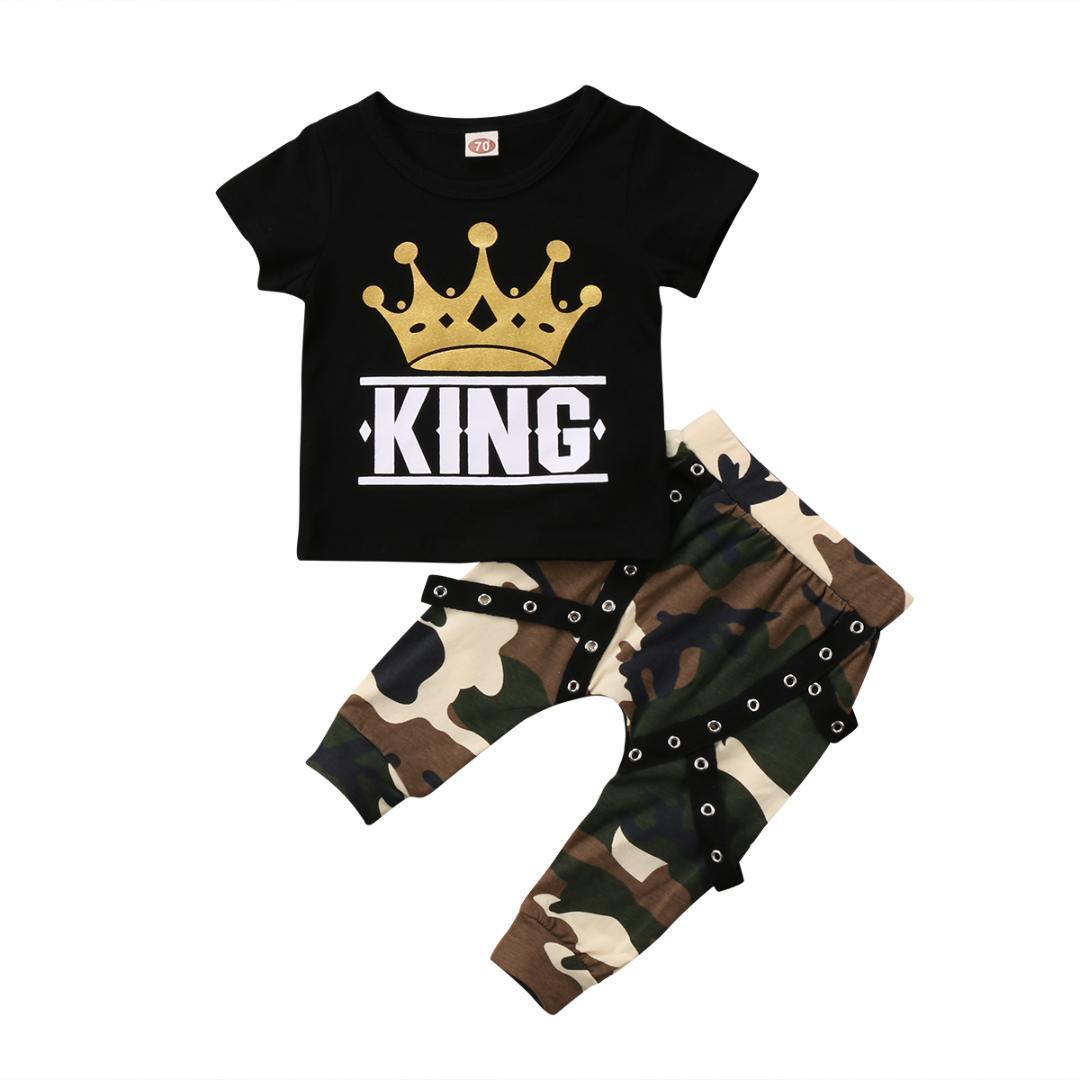 Moda para niños del niño de la corona ropa determinada de los bebés remata la camiseta de camuflaje pantalones Equipos