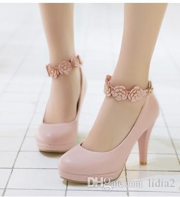 New Arrival Hot Sale Specials Super Fashion Noble Sweety Stiletto Girl Round Head Leather Flowers Buckle Tidal Single Heels Shoes EU34-39