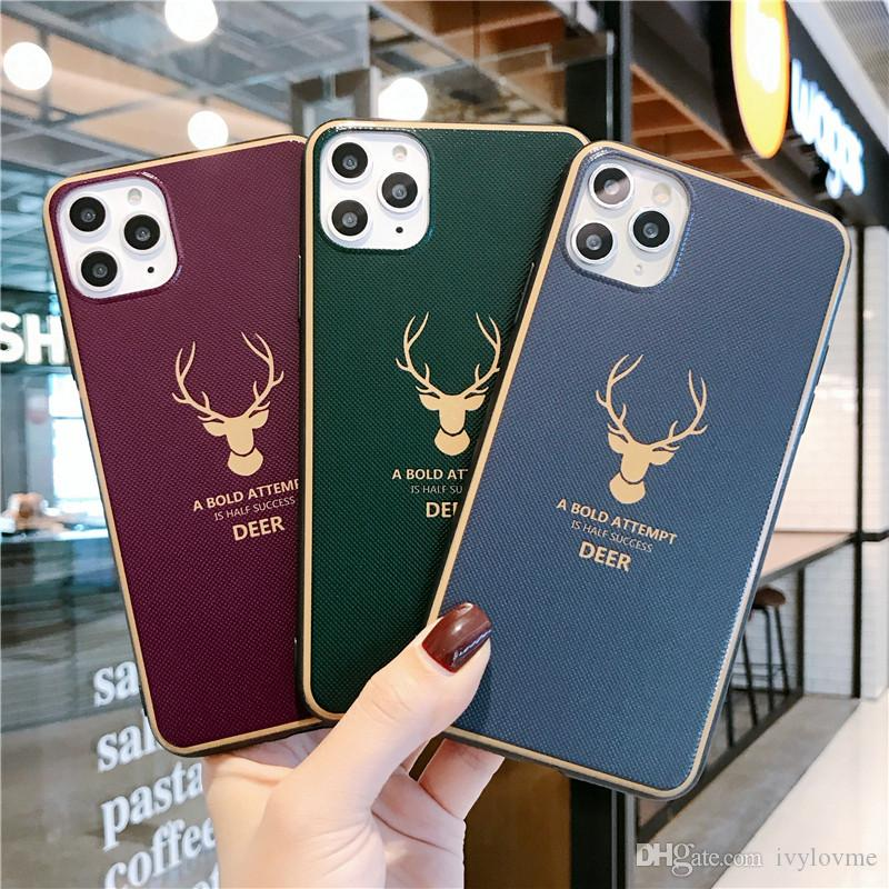 Luxury Deer Moose Head Bold Phone Cover For iPhone 11 Pro Max X XS XR Max 7 8 7Plus 8Plus 6S SE Acrylic oil cell phone Case 100pcs