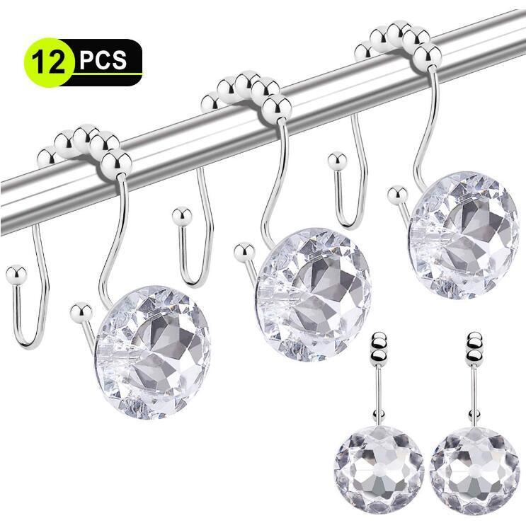 Shower Curtain Hooks 12 Pcs Double Glide Shower Curtain Rings Stainless Steel Rustproof Hook Ring with Acrylic Crystal Rhinestones DHD205