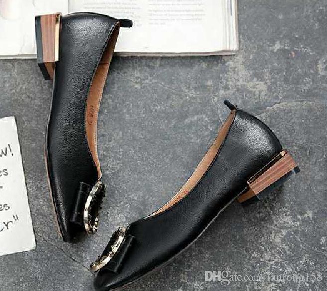 2019 Zapatos de mujer en primavera y otoño con nuevo estilo de fondo plano Cabeza cuadrada Boca poco profunda @ 63