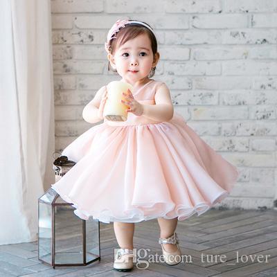 2019 niedlich rosa chiffon sleeveless neugeborenen blumenmädchen kleid perlen säugetaufkleider geburtstag party dress für baby taufe