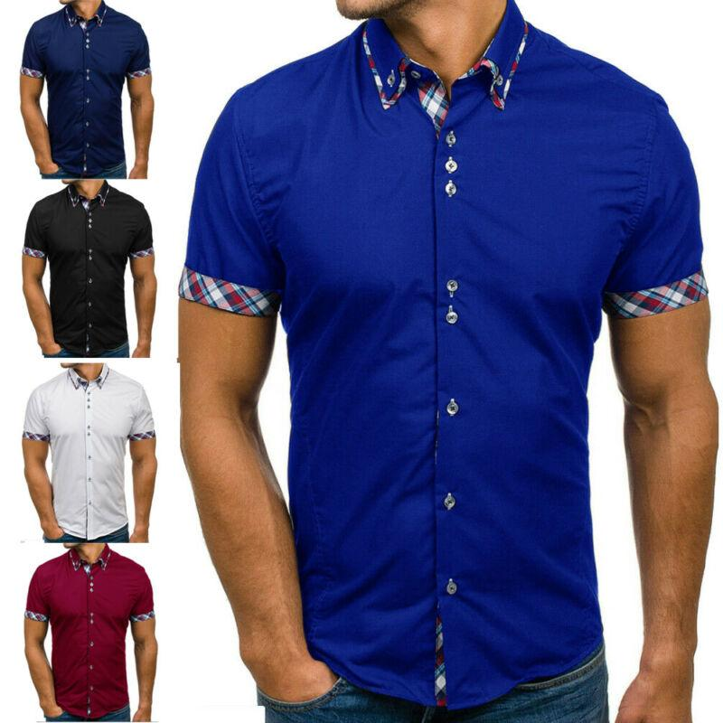 الرجال الصيف صالح سليم قصيرة الأكمام بدوره إلى أسفل الياقة القميص عادية منقوش الترقيع واحدة الصدر قميص زر أسود أزرق الأبيض